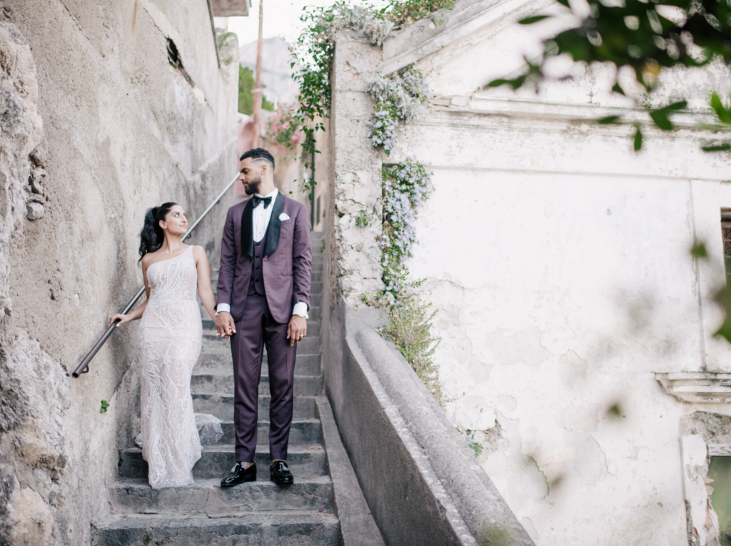 Beautiful Staircase Wedding Portrait at Villa Magia Positano